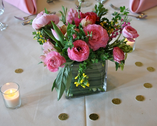Pink peonies as centerpieces.