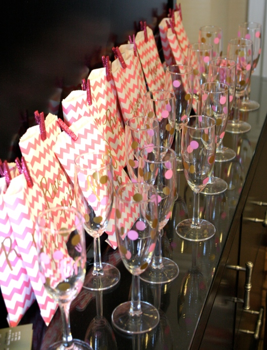 polka dot champagne glasses and recovery kits