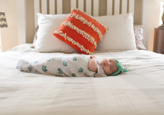 columbus ohio newborn lifestyle photography baby on master bed 6 full